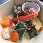 スカイツリー ビュー レストラン&バー 簾 - 一の重 鉢肴 鰆 蒸し蟹 煮鰹 つぶ貝 鴨燻製 玉子焼き他