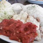 魚々バル - 豚ロースのポテトチーズ焼き~バジル風味のトマトソース~