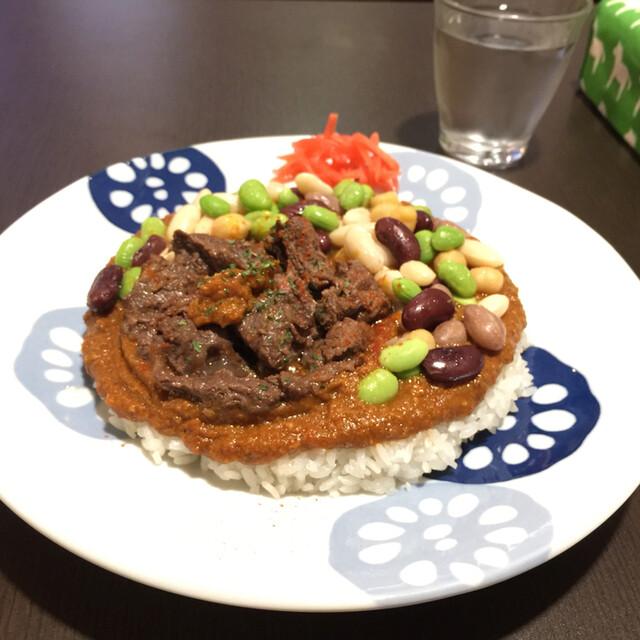 火星カレー - 2/24 鹿カレー+豆のトッピング