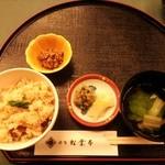 35347064 - ランチ 松葉御膳①(松茸ご飯、お吸い物、小鉢、香の物)