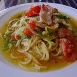 カフェレストラン タツミーヤ - ベーコンとたっぷり野菜のスパゲッティー(塩味)…本日のランチから選択
