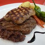 学舎 - 牛ランプ肉とフォアグラのステーキ