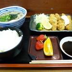 sobadokorokinugasa - かきフライ定食1300円あとサラダがつきます