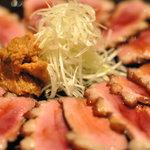 無垢とうや - ワイン、日本酒、どちらにも合う「合鴨のワイン煮」 ネギと味噌と自家製タレが美味い