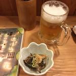 おぼろ月夜 - お通しと生ビール