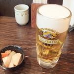 やきとりひびき庵 - 生ビールとお通し