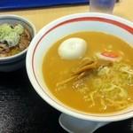 名代 箱根そば - ラーメン チャーシュー丼セット+味付卵 (みそラーメンの場合30円増し)