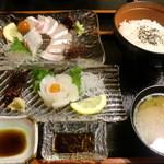 海食 浜勝 - カンパチ・いか刺身+  ご飯・お味噌汁♪