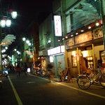 やぐら亭 - 夜の不動通り商店街とやぐら亭