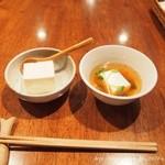豆腐room Dy's - ランチにはお豆腐、スープ、おから茶が付きます