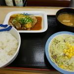 松屋 - チキンガーリック定食【630円】(2015/2/27)