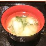 ぽん輔 - 鳥取県産大山鶏カツ定食(ムネ肉) 500円 の味噌汁