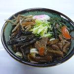 根っ子食堂 - 料理写真:山菜うどん・そば【いもがら、きゃらぶき、きんぴら、わらび)入り ¥600