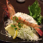 地魚と百日地鶏 大 - 大海老のサラダ