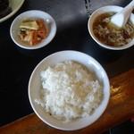 大元 - ライス、スープ、お新香