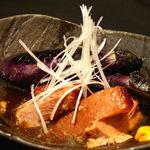豚の角煮と揚げなすび
