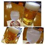 35492000 - 復刻の生(中ジョッキ:1080円)、、軽い味わいでにごみも程よく飲みやすい。                       そして老眼ゆえにドイツビールと間違えてオーダーした「ドイツジン(550円)」(-_-;)