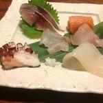 35501818 - お造り【水蛸、平目、しめ鯖、ソイ、真イカ、マス】(おまかせコース)
