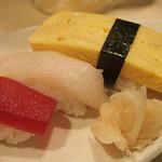 宝寿司 - 帆立、鮪、白身、玉子のにぎり