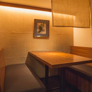 〜接待に~暖簾の下りるボックス席がおすすめ。(4名様まで)