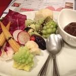 35534817 - 熟成黒ニンニクで作った彩り野菜のバーニャカウダ