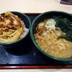 ゆで太郎 - 「かき揚げ丼セット」500円也。税込。