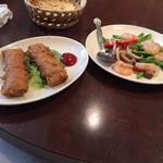 青葉 新館 - 台湾産生ユリと芝エビの炒め/湯葉の巻き揚げ