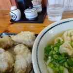 手打うどん 麦蔵 - 以前かしわ天のお皿に乗っていた塩胡椒はトレイの胡椒壷へ…… かけ放題?