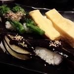 Nigirichoujirou - なすの田楽にぎり、菜の花の土佐にぎり、玉子にぎり