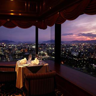 眺望がいい星空のような夜景を彩るレストラン