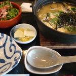カフェ三菓亭 - 鶏とキノコの雑炊セット(1260円)