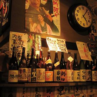 地酒、本格焼酎、ウヰスキー、カクテル、ビールなども多数品揃え