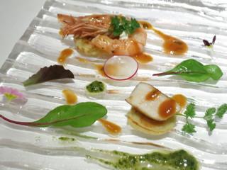 リストランテ サクラ - 天使海老とホタテ貝のクレスペッレ アメリケーヌソース