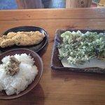 瀧茶屋 - つけそばセットのごはん、卵焼き、天ぷら
