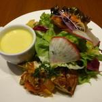 ゼルコバール - 前菜:緑の野菜のフリッタータ(オムレツ)、グリーンサラダ、かぼちゃのポタージュ