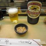 35672502 - ビール大瓶・お通しの「しおから」(2015/3)