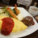 洋食 ピッコローサ - 2013年11月 ローサset【1100円】玉子の色がキレイ!