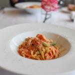 ブラッセリー ブルゴーニュ - 本日オリジナル トマト、かにクリームパスタ(手打ち卵麺)☆