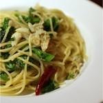 lumielune - ズワイ蟹とふきのとうのペペロンチーノスパゲティ