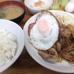 荏原食堂 - 豚の生姜焼定食720円、ご飯少なめ