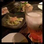神田基地 - 前菜と生ビール