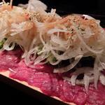 神田基地 - 馬刺と馬肉のたたきのカルパッチョ