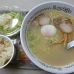 スガキヤ - 料理写真:'15/03/07 特製ラーメン+サラダセット(720円⇒半額350円)