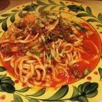 35701759 - 帆立とふきのとうのトマトソーススパゲッティ