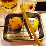 串芳 - 芽キャベツの豚肉巻と新ごぼう