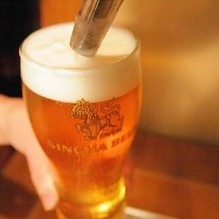希少なシンハーの生ビールをお試しください