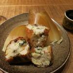 黒尊 - 山芋、筍やずわいがにの揚げ物