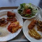 ディナ ギャン ドス - チーズオムレツ、照り焼きチキンガーリック風味、サラダ、串カツとポテトフライ、ホイコーロー