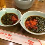ふぐ料理 与太呂 - 左はてっさ、右はお鍋のポン酢❤︎