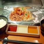 35733430 - にくまる定食(豚肉・丸腸・ご飯・お味噌汁)